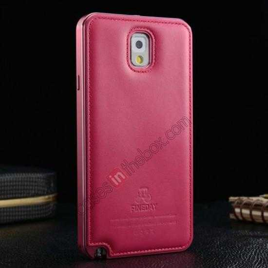 top quality Deluxe All Metal Aluminum Case + Genuine Leather Protective back For Samsung Galaxy Note3 N9000 - Rose red