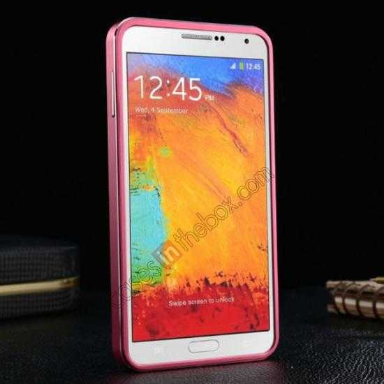 best price Deluxe All Metal Aluminum Case + Genuine Leather Protective back For Samsung Galaxy Note3 N9000 - Rose red