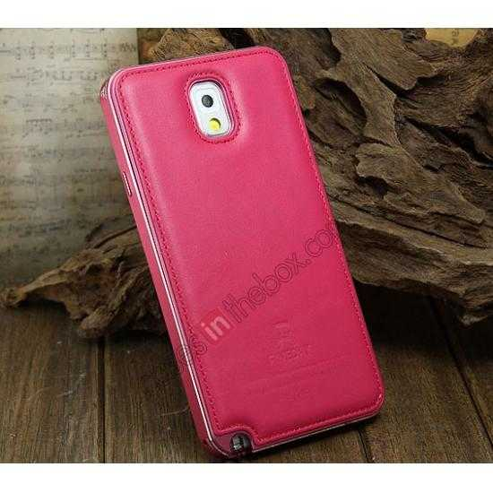 wholesale Deluxe All Metal Aluminum Case + Genuine Leather Protective back For Samsung Galaxy Note3 N9000 - Rose red