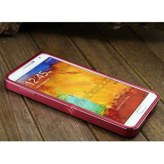 cheap Deluxe All Metal Aluminum Case + Genuine Leather Protective back For Samsung Galaxy Note3 N9000 - Rose red