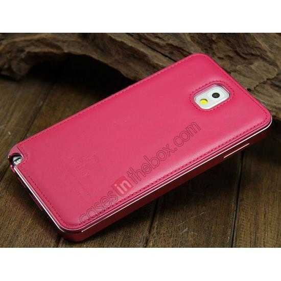 discount Deluxe All Metal Aluminum Case + Genuine Leather Protective back For Samsung Galaxy Note3 N9000 - Rose red