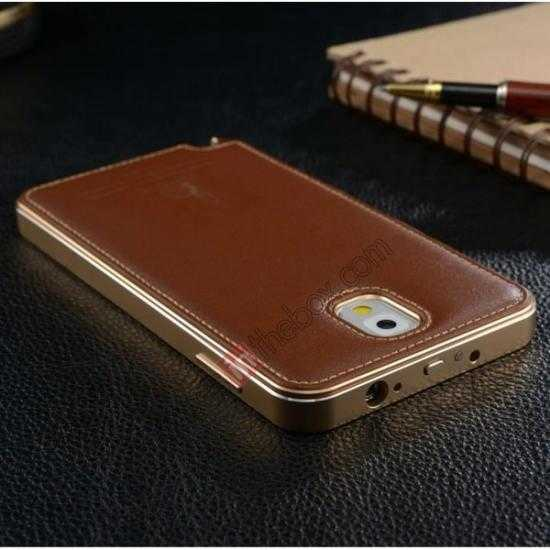 on sale Deluxe All Metal Aluminum Case + Genuine Leather Protective back For Samsung Galaxy Note3 N9000 - Silver&Black
