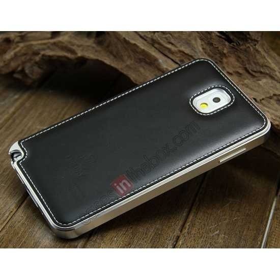 discount Deluxe All Metal Aluminum Case + Genuine Leather Protective back For Samsung Galaxy Note3 N9000 - Silver&Black