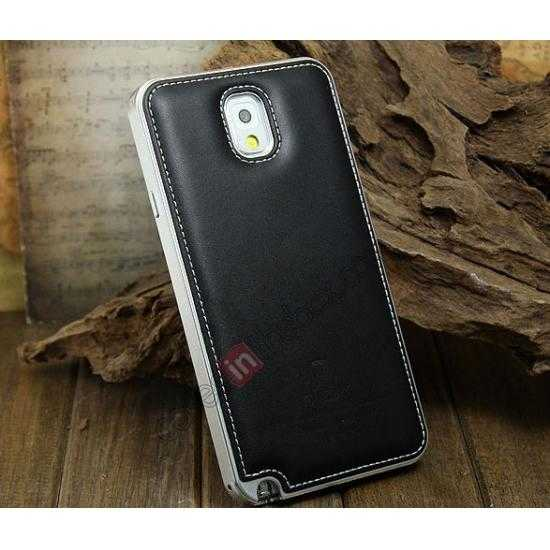 wholesale Deluxe All Metal Aluminum Case + Genuine Leather Protective back For Samsung Galaxy Note3 N9000 - Silver&Black