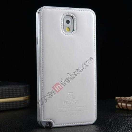 top quality Deluxe All Metal Aluminum Case + Genuine Leather Protective back For Samsung Galaxy Note3 N9000 - Silver&White