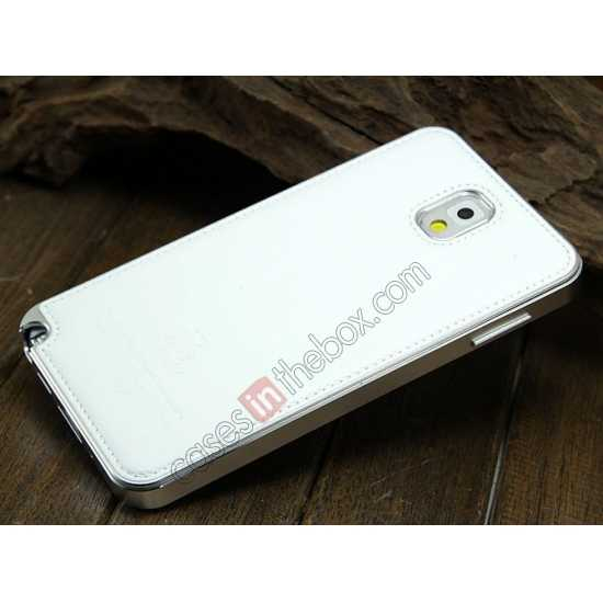 discount Deluxe All Metal Aluminum Case + Genuine Leather Protective back For Samsung Galaxy Note3 N9000 - Silver&White