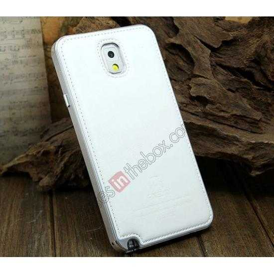 wholesale Deluxe All Metal Aluminum Case + Genuine Leather Protective back For Samsung Galaxy Note3 N9000 - Silver&White