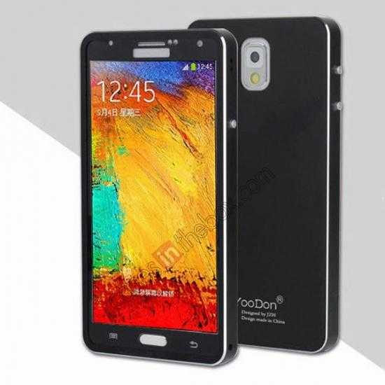 wholesale Deluxe Aluminum Metal Case With Tempered Glass For Samsung Galaxy Note 3 N9000 - Black