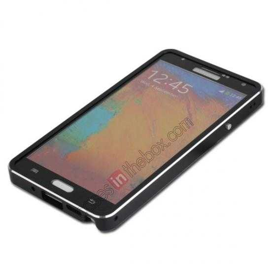 cheap Deluxe Aluminum Metal Case With Tempered Glass For Samsung Galaxy Note 3 N9000 - Black