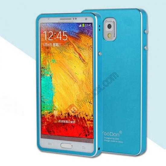 wholesale Deluxe Aluminum Metal Case With Tempered Glass For Samsung Galaxy Note 3 N9000 - Blue