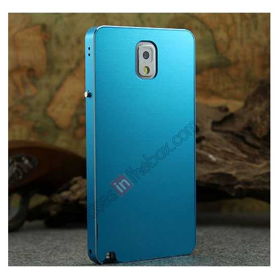 discount Deluxe Aluminum Metal Case With Tempered Glass For Samsung Galaxy Note 3 N9000 - Blue