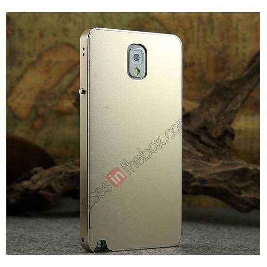 discount Deluxe Aluminum Metal Case With Tempered Glass For Samsung Galaxy Note 3 N9000 - Champagne