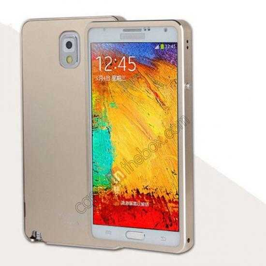 wholesale Deluxe Aluminum Metal Case With Tempered Glass For Samsung Galaxy Note 3 N9000 - Champagne