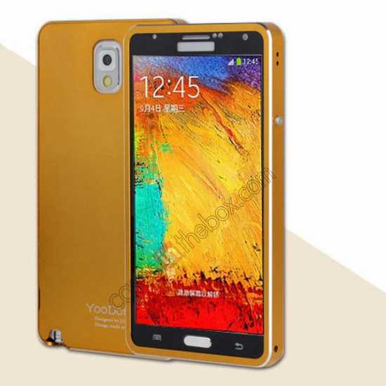 wholesale Deluxe Aluminum Metal Case With Tempered Glass For Samsung Galaxy Note 3 N9000 - Golden