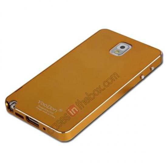 discount Deluxe Aluminum Metal Case With Tempered Glass For Samsung Galaxy Note 3 N9000 - Golden