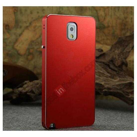 cheap Deluxe Aluminum Metal Case With Tempered Glass For Samsung Galaxy Note 3 N9000 - Red