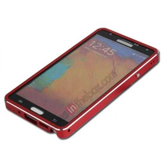 discount Deluxe Aluminum Metal Case With Tempered Glass For Samsung Galaxy Note 3 N9000 - Red