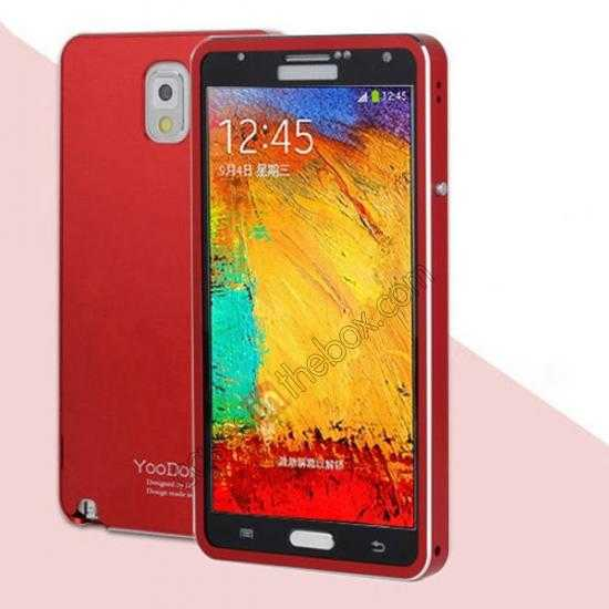 wholesale Deluxe Aluminum Metal Case With Tempered Glass For Samsung Galaxy Note 3 N9000 - Red