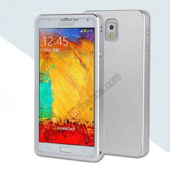 wholesale Deluxe Aluminum Metal Case With Tempered Glass For Samsung Galaxy Note 3 N9000 - Silver