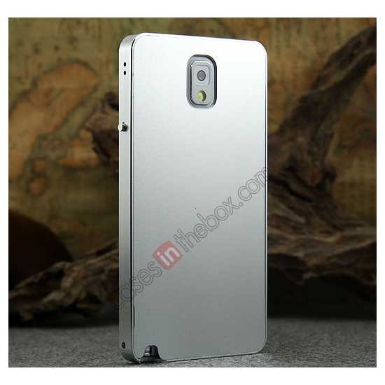 discount Deluxe Aluminum Metal Case With Tempered Glass For Samsung Galaxy Note 3 N9000 - Silver