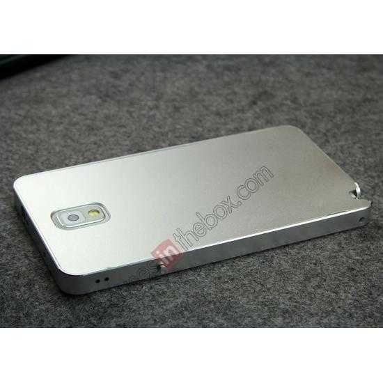 on sale Deluxe Aluminum Metal Case With Tempered Glass For Samsung Galaxy Note 3 N9000 - Silver