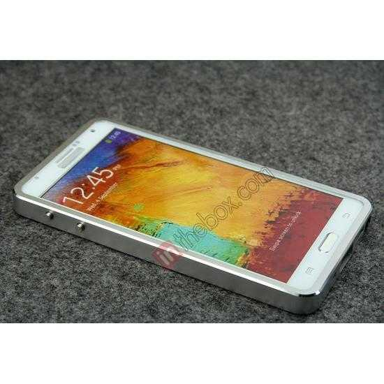 best price Deluxe Aluminum Metal Case With Tempered Glass For Samsung Galaxy Note 3 N9000 - Silver