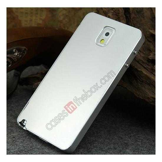 top quality Deluxe Aluminum Metal Case With Tempered Glass For Samsung Galaxy Note 3 N9000 - Silver