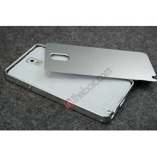 low price Deluxe Aluminum Metal Case With Tempered Glass For Samsung Galaxy Note 3 N9000 - Silver