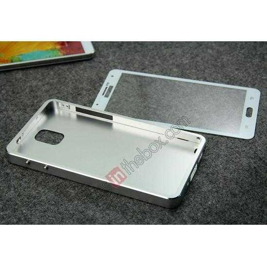 china wholesale Deluxe Aluminum Metal Case With Tempered Glass For Samsung Galaxy Note 3 N9000 - Silver