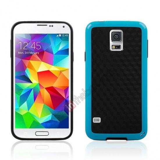wholesale Dual Color Soft TPU Gel Silicone Back Case Cover for Samsung Galaxy S5 - Blue