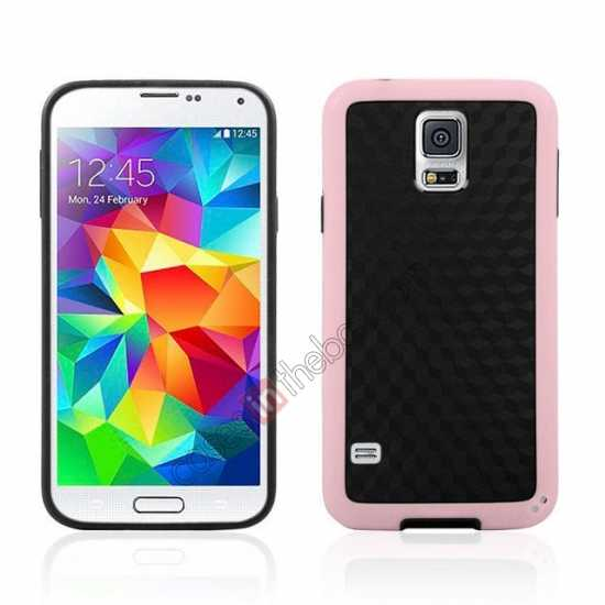 wholesale Dual Color Soft TPU Gel Silicone Back Case Cover for Samsung Galaxy S5 - Pink
