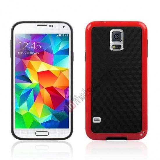 wholesale Dual Color Soft TPU Gel Silicone Back Case Cover for Samsung Galaxy S5 - Red
