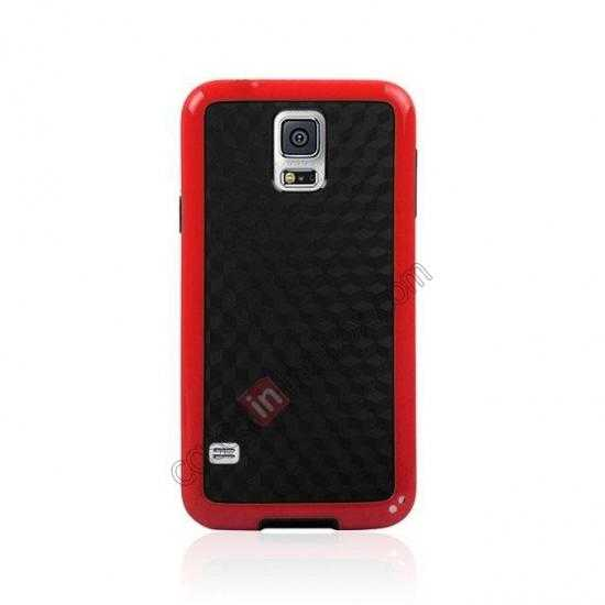 cheap Dual Color Soft TPU Gel Silicone Back Case Cover for Samsung Galaxy S5 - Red