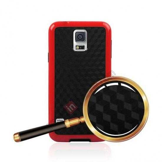 best price Dual Color Soft TPU Gel Silicone Back Case Cover for Samsung Galaxy S5 - Red