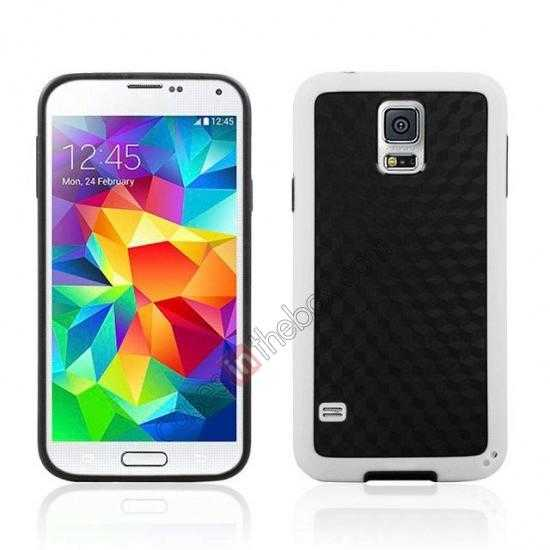 wholesale Dual Color Soft TPU Gel Silicone Back Case Cover for Samsung Galaxy S5 - White