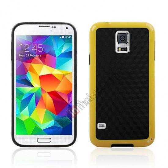 wholesale Dual Color Soft TPU Gel Silicone Back Case Cover for Samsung Galaxy S5 - Yellow