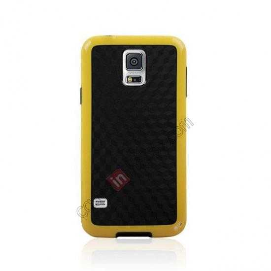 cheap Dual Color Soft TPU Gel Silicone Back Case Cover for Samsung Galaxy S5 - Yellow