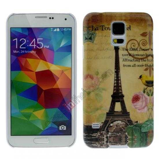 wholesale Eiffel Tower Pattern Plastic Case Cover for Samsung Galaxy S5
