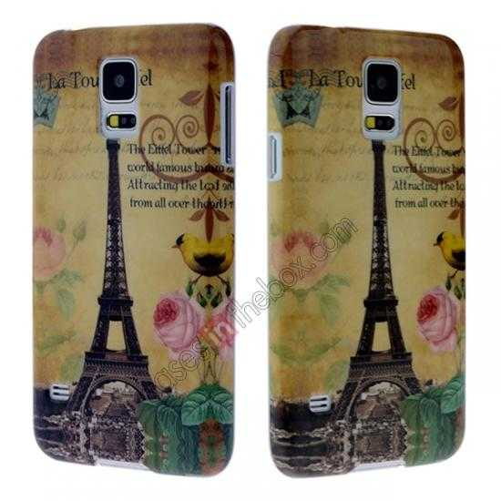 discount Eiffel Tower Pattern Plastic Case Cover for Samsung Galaxy S5