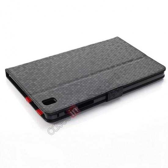 top quality Fashion Diamond Pattern Folio Leather Flip Stand Case for Samsung Galaxy Tab Pro 8.4 T320 - Black