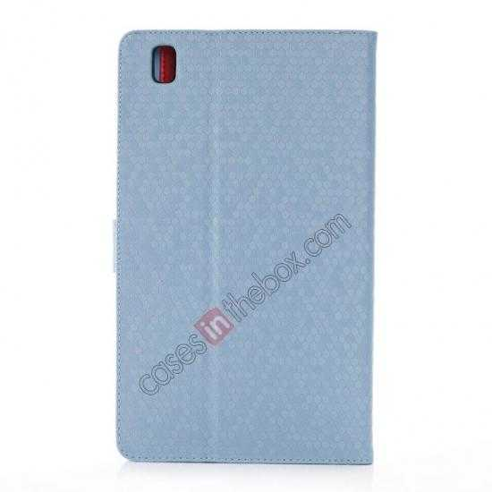 cheap Fashion Diamond Pattern Folio Leather Flip Stand Case for Samsung Galaxy Tab Pro 8.4 T320 - Blue