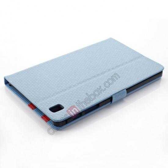 top quality Fashion Diamond Pattern Folio Leather Flip Stand Case for Samsung Galaxy Tab Pro 8.4 T320 - Blue