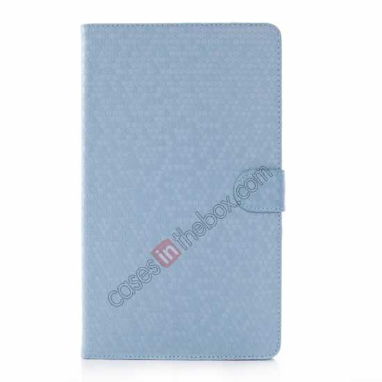 discount Fashion Diamond Pattern Folio Leather Flip Stand Case for Samsung Galaxy Tab Pro 8.4 T320 - Blue