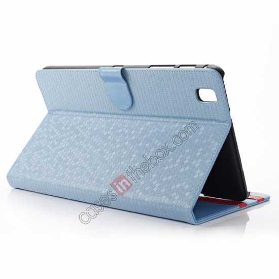 wholesale Fashion Diamond Pattern Folio Leather Flip Stand Case for Samsung Galaxy Tab Pro 8.4 T320 - Blue