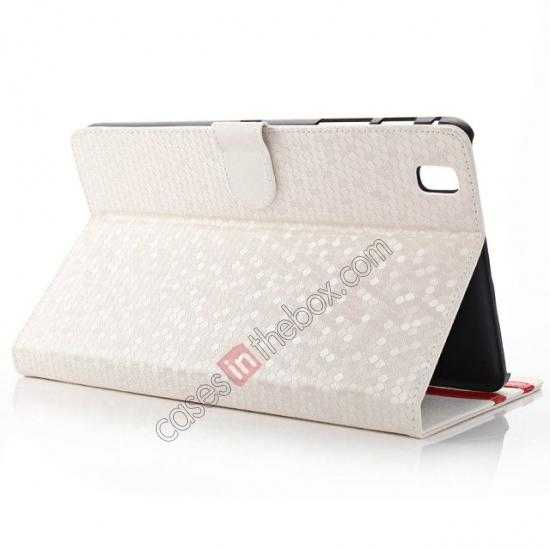 wholesale Fashion Diamond Pattern Folio Leather Flip Stand Case for Samsung Galaxy Tab Pro 8.4 T320 - White