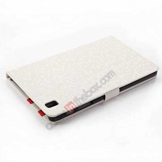 top quality Fashion Diamond Pattern Folio Leather Flip Stand Case for Samsung Galaxy Tab Pro 8.4 T320 - White