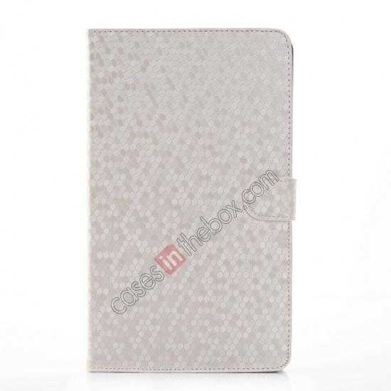 discount Fashion Diamond Pattern Folio Leather Flip Stand Case for Samsung Galaxy Tab Pro 8.4 T320 - White