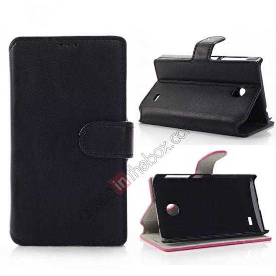 wholesale Fashion New Pu Leather Stand Case for Nokia X With Card Slots - Black