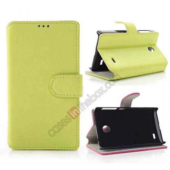 wholesale Fashion New Pu Leather Stand Case for Nokia X With Card Slots - Green
