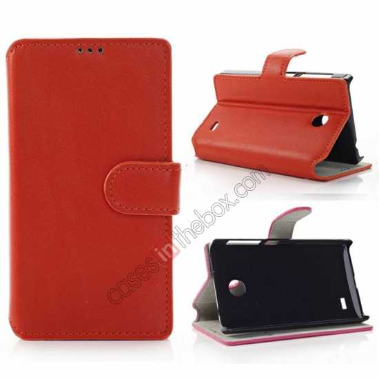 wholesale Fashion New Pu Leather Stand Case for Nokia X With Card Slots - Orange